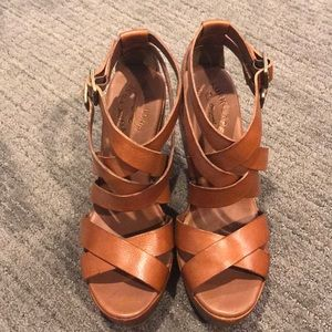 Rust Colored Strappy Kork-Ease Wedges